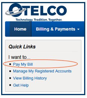 Quick Links Menue-Pay My Bill