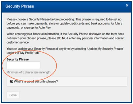 Security Phrase