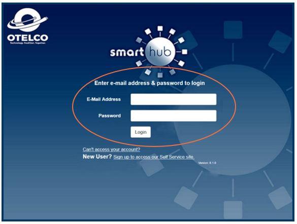 Smart Hub Log In Screen